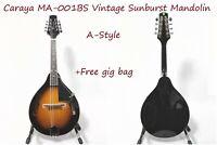 Caraya A Style Vintage Sunburst Mandolin, Arch Top+Free Gig Bag,Picks  MA-001BS 