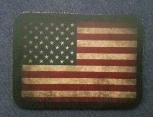 ALL Leather VINTAGE STYLE USA American Flag Patriotic SEW ON  Patch