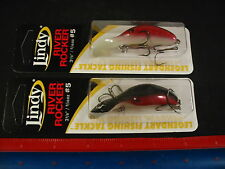 Lot of 2 Lindy River Rocker #5 Red Glow Luminous Bottom LRR511 NEW Fishing Lures