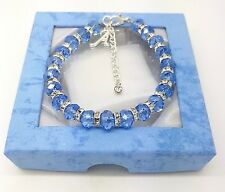 Personalised Initial Letter Christmas Charm Blue Crystal Bracelet With Gift Box