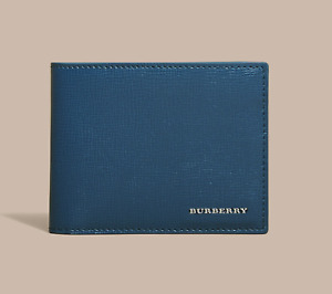 Authentic BNWT BURBERRY London Leather Bifold Mens Wallet IN Mineral Blue