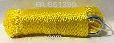 "(1) Yellow Hollow Braided 1/4"" in x 50' ft Boat Marine Anchor Line Tie-Down Rope"