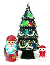 Christmas Tree 3 pc Santa Snowman Russian Nesting Doll Babushka Matryoshka Toy