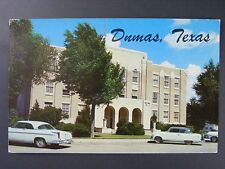 Dumas Texas TX Moore County Courthouse Cars Vintage Color Chrome Postcard 1950s