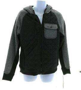 Machine Customer Mens Black and gray Fleece Lined Hooded Jacket