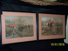 Thomas Blinks(c1860-1912) Antique Hand Colored Fox Hunt Lithograph Prints