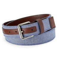 NEW Urban Pipeline Men's Chambray Belt Blue Brown size L, XL