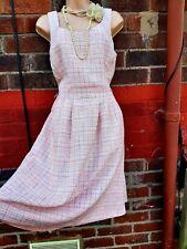 Tweed Boucle designer dupe Mod Retro Dress Sleeveless Work Sz 16 Pinafore