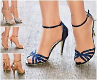 Women Sparkly High Heel Ankle Strap Peep Toe Shoes Wedding Prom Evening Party
