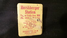 Vintage Advertising METAL CLIP Herschberger Station, Diamond D-X, Waterloo, Iowa
