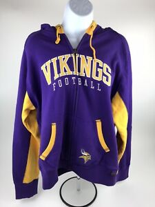Reebok Minnesota Vikings Womens Hooded Sweatshirt Full Zip XL Embroidered NEW!