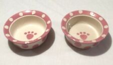 PET RAGEOUS DESIGN STONEWARE PET FEEDER OR WATER BOWL w/ PAW Print