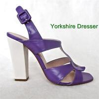 New HOBBS Purple Ivory Stone Colourblock PHENE Block Heel Sandals Uk 6 + 7 Rare!