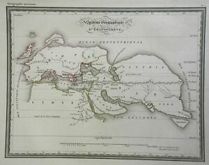 Geography of Eratosthenes Ancient World Europe N. Africa Asia c. 1830's map