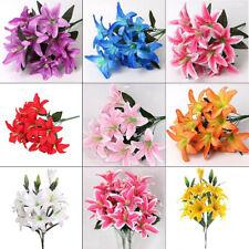 10 Heads Silk Outdoor Artificial Flowers Fake False Plants Grass Garden Lily