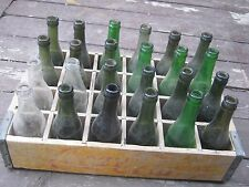 Used Vintage Coca Cola Yellow Wood Crate & 24 empty bottles green Badger State