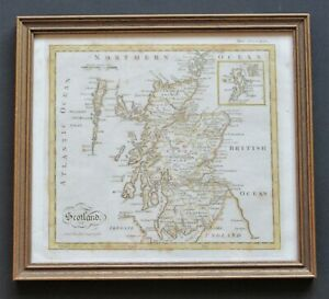 A scarce 1777 map of Scotland by Andrew Bell ~ framed