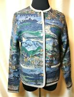 EUC Geiger Tyrol Austria 34/M 100% Wool Alpine Village Scene Cardigan Sweater