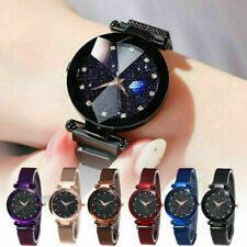 Lady Fashion Quartz Watch Starry Night Sky Crystal Dial Stainless Steel Strap