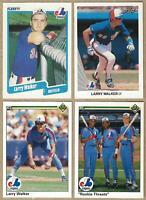 1990 Leaf Card #325 LARRY WALKER Rookie 4 Card Lot: Fleer #363, Upper Deck #466