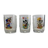McDonalds Disney World Mickey Square Glasses Lot of 3 Collectible 2000 Millenium