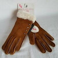 Koolaburra By UGG Studded Suede Gloves with Faux Fur Cuff SMALL - Chestnut