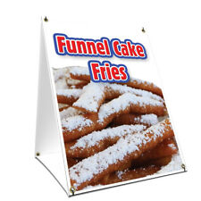 A Frame Sidewalk Sign Funnel Cake Fries With Graphics On Each Side