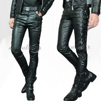 New Punk Men's Leather Trousers Black Motorcycle Pencil Pants Cross Lace Gothic