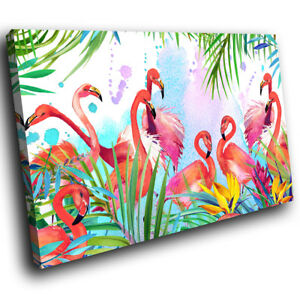Abstract Leaves Flamingos Funky Animal Canvas Wall Art Large Picture Prints