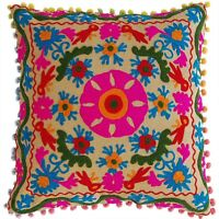 5 PCS Hand Embroidery Suzani Cushion Cover Christmas Decor Cotton Pillow Cases