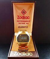 Zodiac Astrodigit LCD Digital Vintage vergoldete Herren Armbanduhr 1976 Box