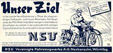 NSU Motorrad Reklame 1929 Neckarsulm Werbung +