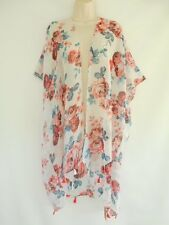 Floral Cover Up Open Sheer Tassel Wrap Top Blouse Beach Kimono One Size Red