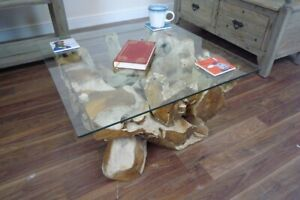 Unique Teak Root Coffee Table - Handmade Glass Topped Teak Root Table