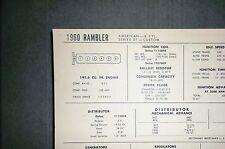 1960 Rambler American SIX Series 01 Custom Models 195.6 CI L6 Tune Up Chart