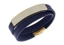 Swarovski Vio Navy Leather Pave Crystals Wrap Bracelet Magnetic Clasp 5120642