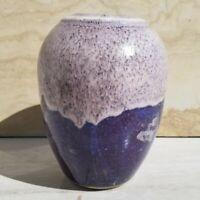Hand Thrown stoneware Pottery Vase Drip Glaze Purple White Cream Signed Alison ?
