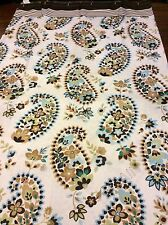 Floral Paisley Fabric Shower Curtain Flowers In Brown Blue Green On White Nip