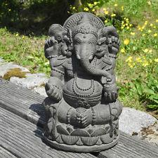 Ganesha Skulptur Figur Glück Gott Glücksbringer grau Buddha Stein Bali Deko