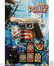 SET POLICE 1 PISTOLET 3 FLECHETTES CIBLE ECUSSON TALKIE WALKIE