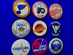 Lot (9x) Vintage (NHL) Buttons/Pins