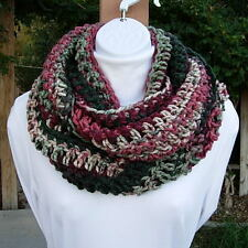INFINITY LOOP COWL SCARF Handmade Crochet Knit Dark Red Green White Gray Striped