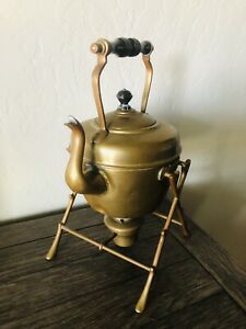 Antique Brass Tea Pot Kettle with Ornate Stand and Burner