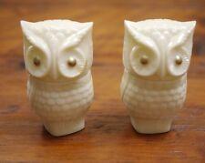 Pair Vintage Avon Milk Glass OWL Cologne Moonwind Cream Sachet Perfume Bottles
