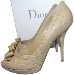 Christian Dior Cannage Quilted Beige Nude Leather Pump Shoes Platform Bow 40-9