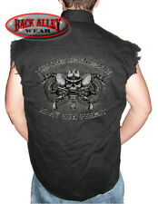 2nd AMENDMENT is My GUN PERMIT Sleeveless Denim Shirt Biker Cut Cowboy Skull NRA