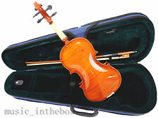 New 1/4 Student Violin +Case +Bow +Rosin +String Set /Flamed back Looking