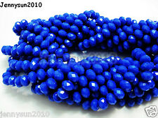 72pcs Opaque Blue Faceted Crystal Rondelle Loose Spacer Beads 6mm x 8mm