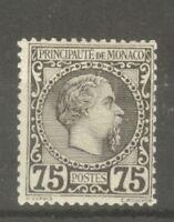 "MONACO STAMP TIMBRE N°8 "" CHARLES III 75c NOIR SUR ROSE 1885 "" NEUF xx A VOIR"