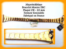 BRACELET MONTRE ZRC Plaqué OR - 22mm - Fermoir Extensible Made in France REF003